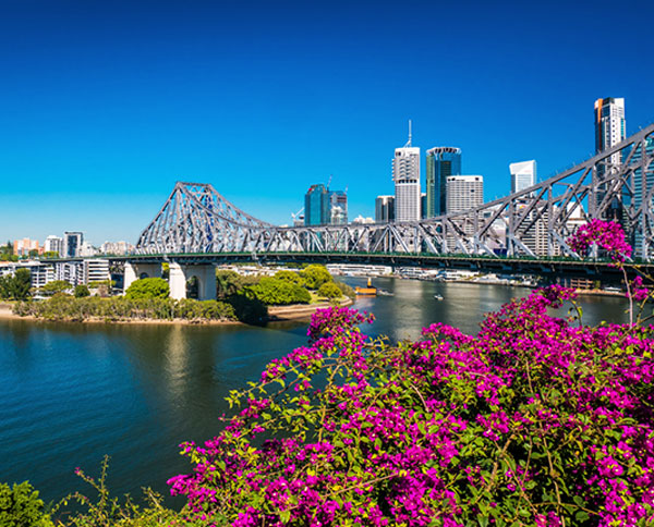 Story Bridge with Brisbane River and city background